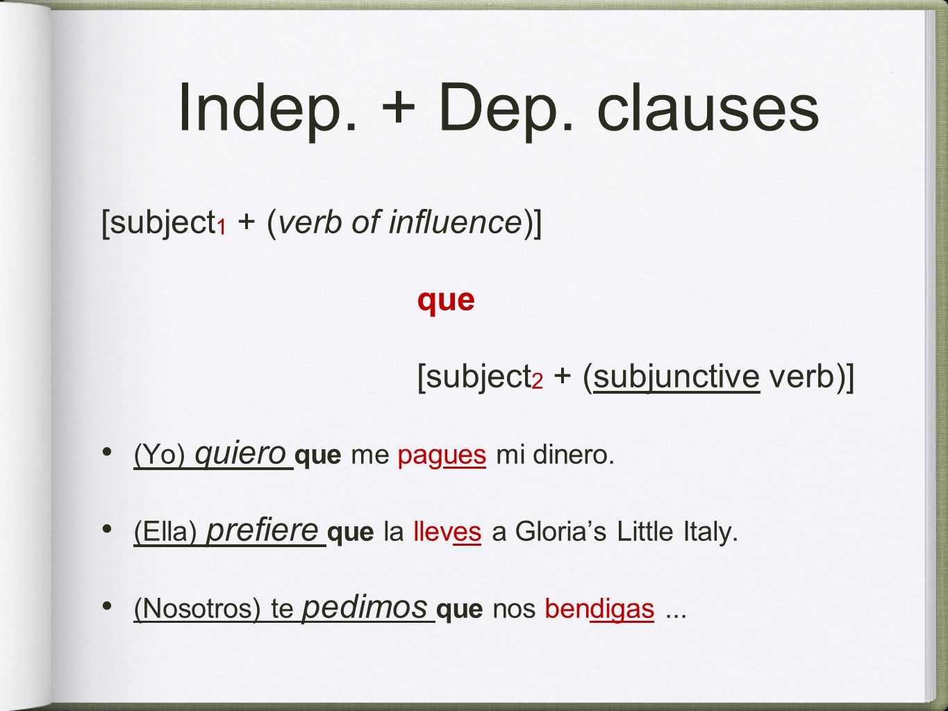 Indep. + Dep. clauses [subject1 + (verb of influence)] que